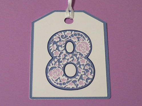 """Ornate Lace-like Number """"8"""" Monogram Gift Tag"""