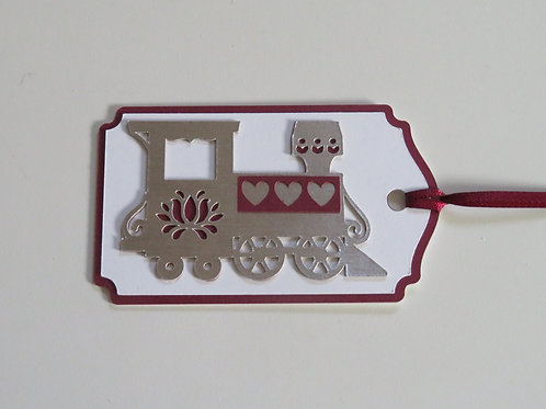 Burgundy and Silver Train Engine Gift Tag