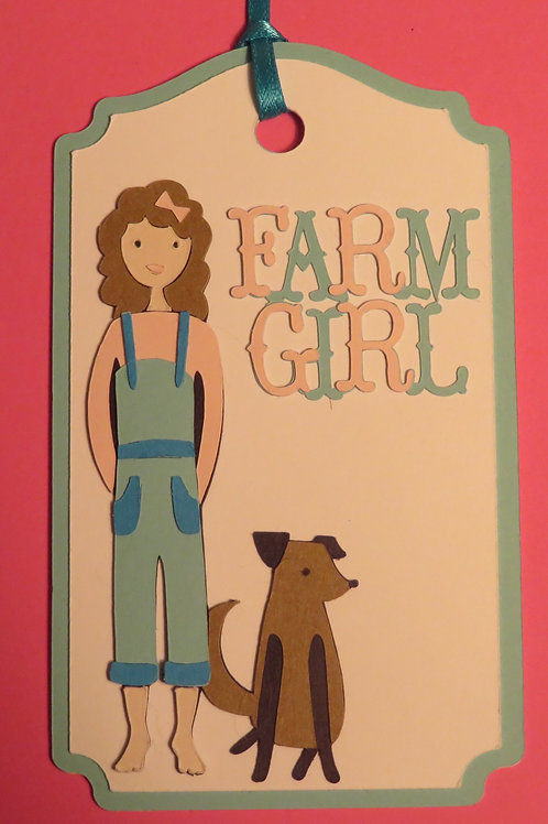 Farm Girl with Dog Gift Tag