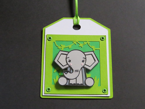 It's a Jungle Out There! Sitting Elephant Gift Tag