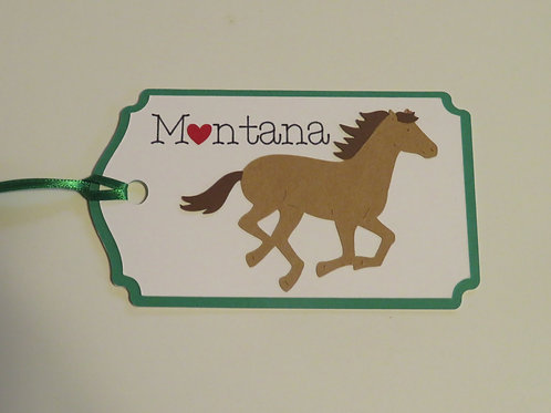 Heart in Montana Galloping Horse Gift Tag