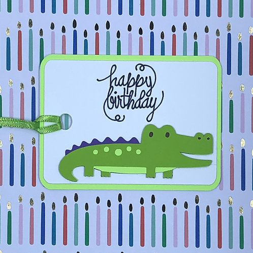 Happy Birthday Alligator / Crocodile Gift Tag