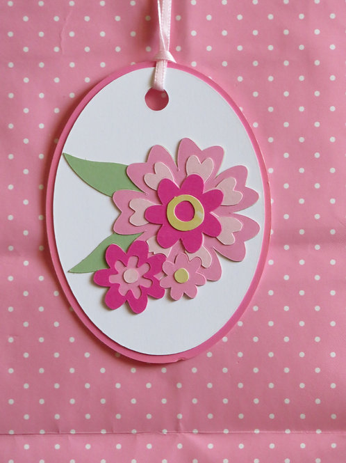 Pink Flower Trio Gift Tag