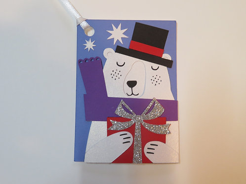 Polar Bear with Present Gift Tag