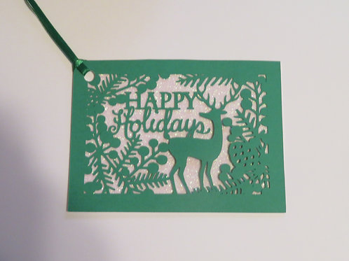 Happy Holidays Silhouette Green Over White Glitter Gift Tag