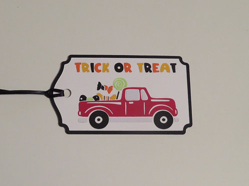 Red Truck Series Trick or Treat Halloween Gift Tag