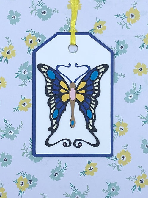 Fancy Art Nouveau Butterfly Gift Tag