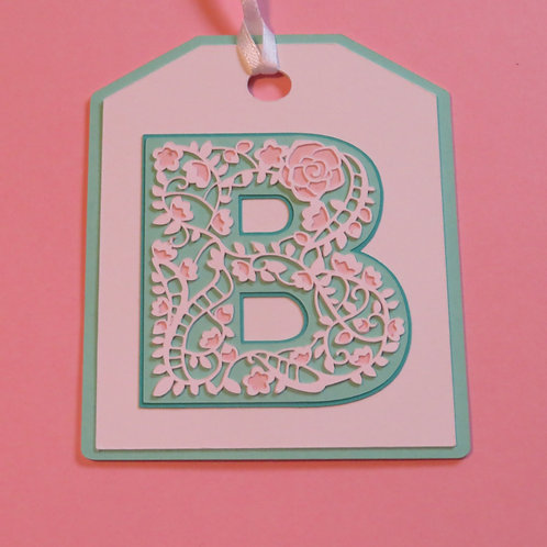 "Ornate Lace-like Letter ""B"" Monogram Gift Tag"