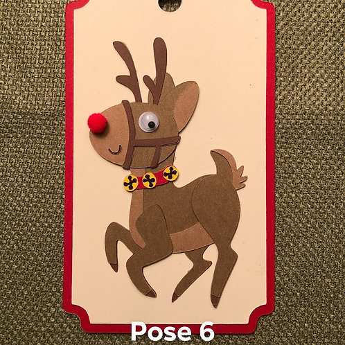 Many Poses of Rudolph Pose 6 Gift Tag