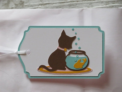 Little Brown Cat Watching Goldfish Gift Tag