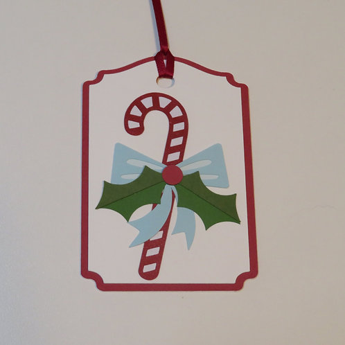 Candy Cane with Bow and Holly Sprig Gift Tag