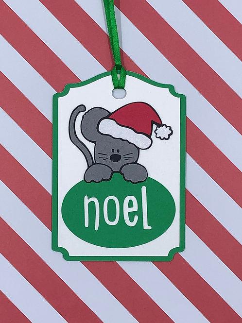 Noel Santa Mouse Christmas Gift Tag