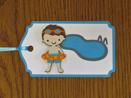 Pool Party Boy Gift Tag