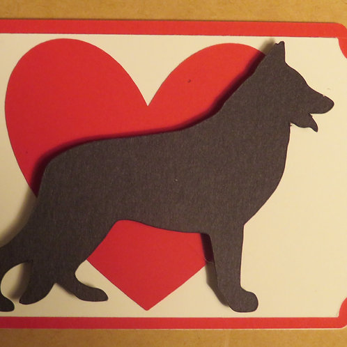 German Shepherd Silhouette in Front of Large Red Heart