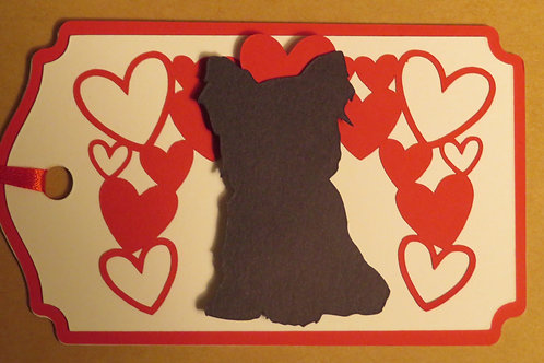 Yorkie Puppy Silhouette Sitting Under a Canopy of Hearts