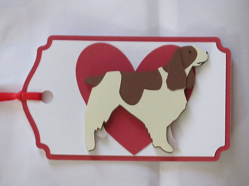 English Springer Spaniel on Large Red Heart Gift Tag