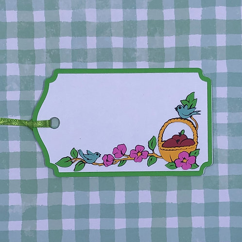 Basket of Apples, Flowers and Blue Birds Gift Tag