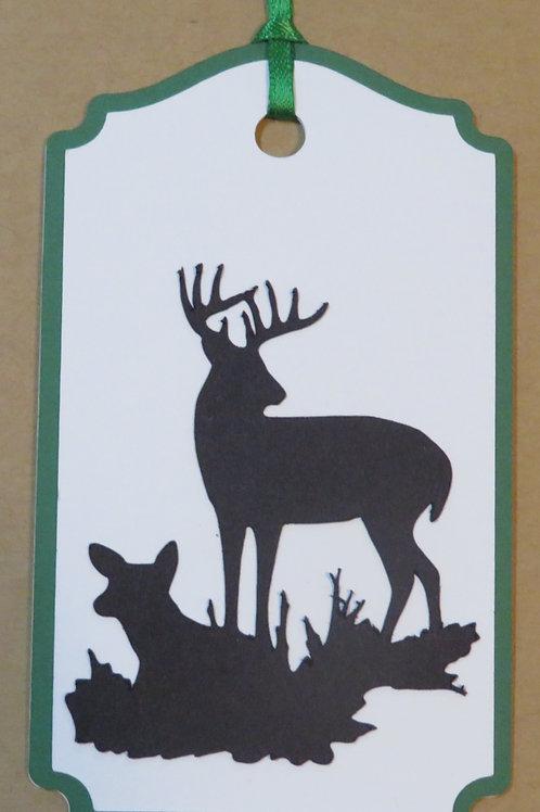 Buck and Doe Deer Scene Silhouette Gift Tag