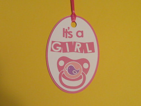 It's a Girl Pink Binky Pacifier Gift Tag
