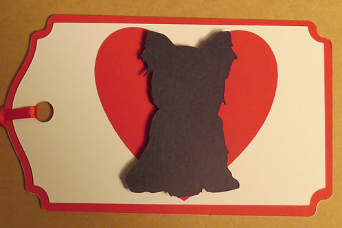 Yorkie Puppy Silhouette in Front of Large Red Heart