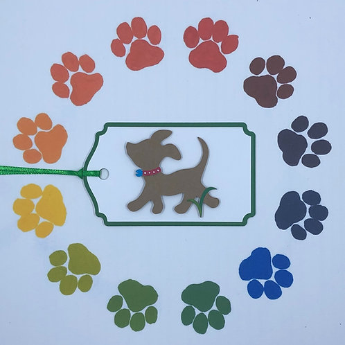 Little Brown Dog Going for Walk Gift Tag