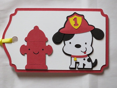 Dalmatian Fire Dog with Hydrant Gift Tag