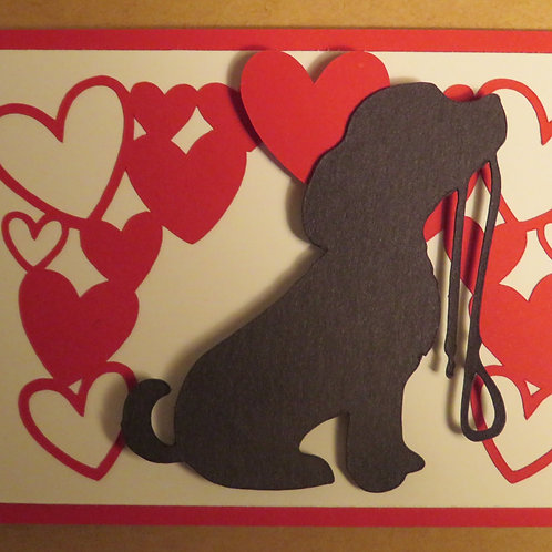 Puppy Holding Leash Silhouette Under Canopy of Hearts