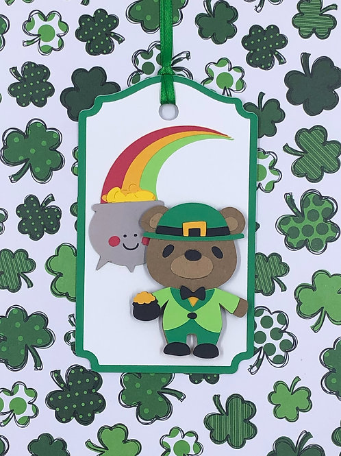 St. Patrick's Leprechaun Bear, Rainbow and Pot of Gold Gift Tag