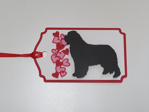Bernese Mountain Dog Silhouette Beside a Waterfall of Hearts