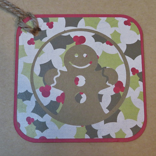 Holly Camouflage Gingerbread Man Gift Tag