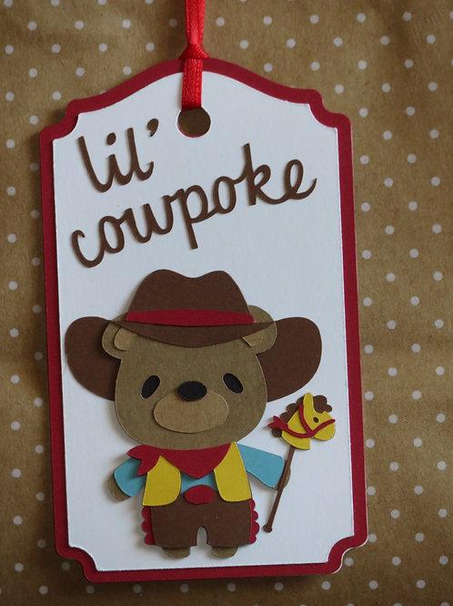 Lil' Cowpoke Cowboy Bear Gift Tag