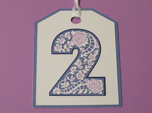 "Ornate Lace-like Number ""2"" Monogram Gift Tag"