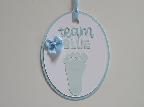 Team Blue Baby Boy Gift Tag