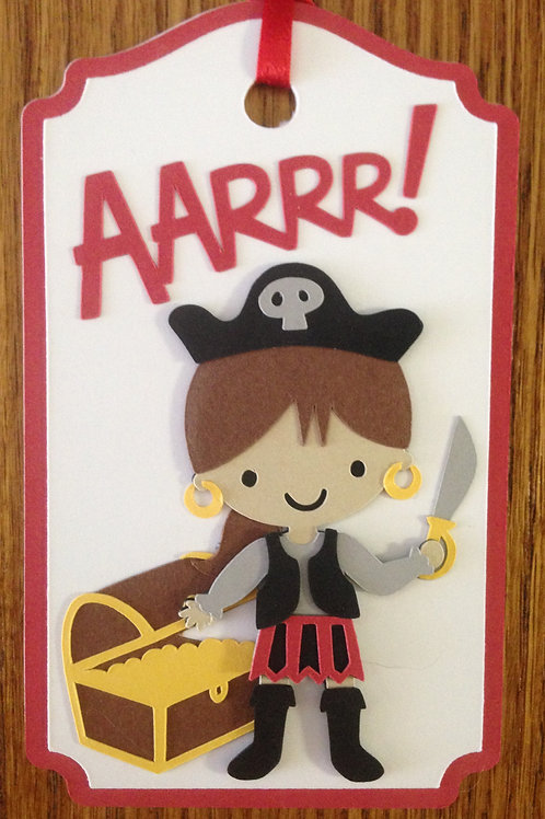 Pirate Girl with Treasure Chest Gift Tag