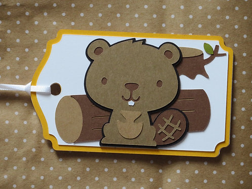 Woodland Forest Animal Beaver Gift Tag