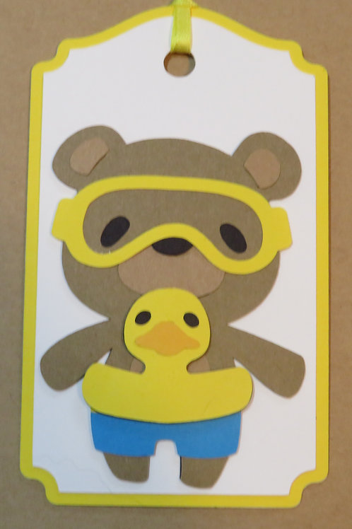 Bear with Duckie Innertube and Goggles Gift Tag