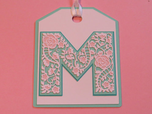 "Ornate Lace-like Letter ""M"" Monogram Gift Tag"