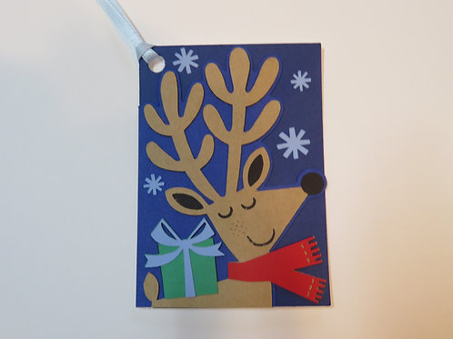 Reindeer with Present Gift Tag