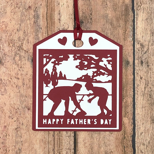 Happy Father's Day Playing Football Silhouette Gift Tag