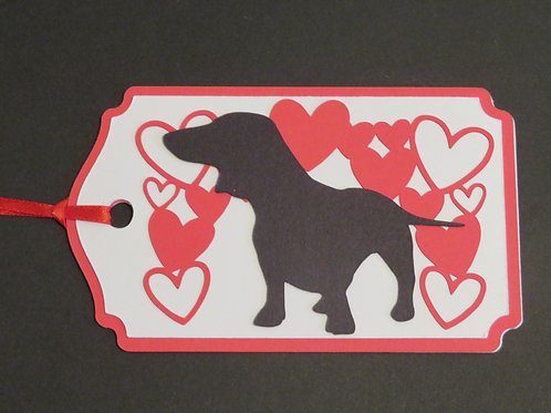 Dachshund Doxie Silhouette Under a Canopy of Hearts Gift Tag