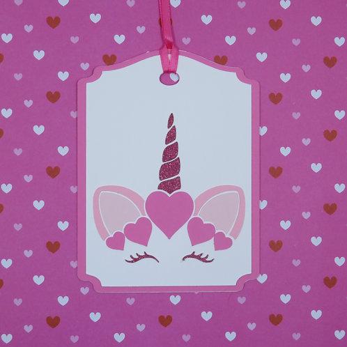 Valentine Unicorn Face Gift Tag