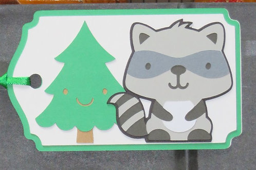 Woodland Forest Animal Little Bandit Raccoon Gift Tag