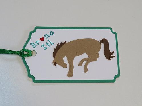 Bronc It! Bucking Bronc Horse Gift Tag