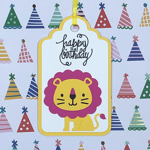 Happy Birthday Lion Gift Tag