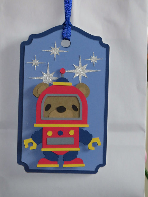 Out of This World Space Robot Bear Gift Tag
