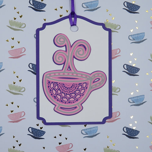 Steamy Cup Of Tea Mandala-Style Gift Tag