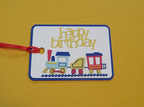 Happy Birthday Train Gift Tag