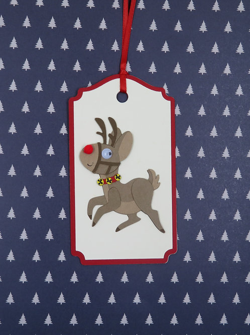 Many Poses of Rudolph Pose 5 Gift Tag