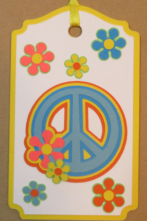 Neon Bright Peace Sign Gift Tag