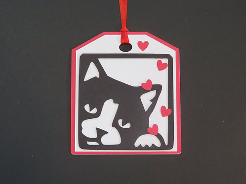 Black and White Tuxedo Cat on Left Side Gift Tag